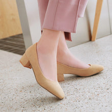 Load image into Gallery viewer, Lady Square Head Shallow Mouth Large Size Woman's Pumps Middle Heels Shoes