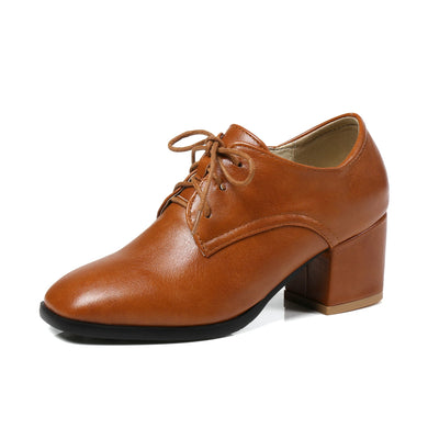 Square Head Lace-up Oxford Shoes