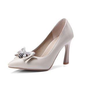 Women's Pointed Toe Rhinestone Bow High Heeled s Pumps