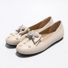 Load image into Gallery viewer, Woman's Knot Pearl Low Heels Shoes