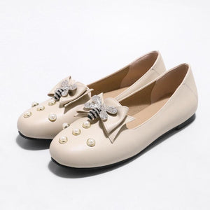 Woman's Knot Pearl Low Heels Shoes