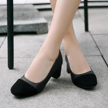 Load image into Gallery viewer, Lady Square Head Color Matching Woman's Pumps Middle Heels Shoes