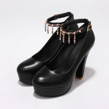 Load image into Gallery viewer, Women's Ultra-high Heel Buckle Belt High Heel Platform Chunkey Pumps Shoes