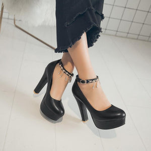 Women's Ultra-high Heel Buckle Belt High Heel Platform Chunkey Pumps Shoes