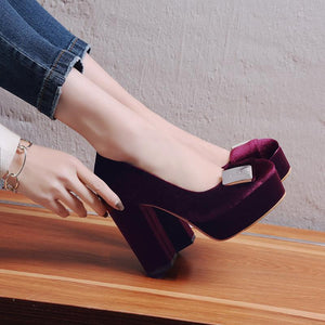 Rough-heeled Super High-heeled Platform Pumps