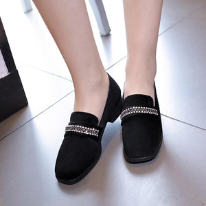 Woman Suede Shallow Mouth Low Heeled Shoes