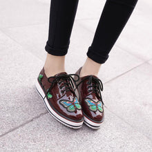 Load image into Gallery viewer, Girls Woman's Lace Up Platform Flat Shoes