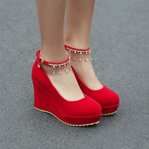 Casual Women's Buckle Rhinestone Wedding Shoes Platform Wedges