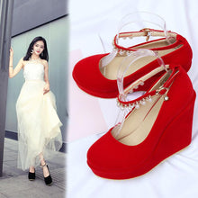 Load image into Gallery viewer, Casual Women's Wedding Shoes Shallow Mouth Buckle with Pearl Platform Wedges