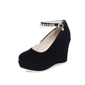 Casual Women's Wedding Shoes Shallow Mouth Buckle with Pearl Platform Wedges