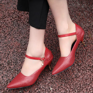 Pointed Toe Pumps Sexy Shallow Mouth Ankle Straps Stiletto Heel Mid Heel Woman Shoes
