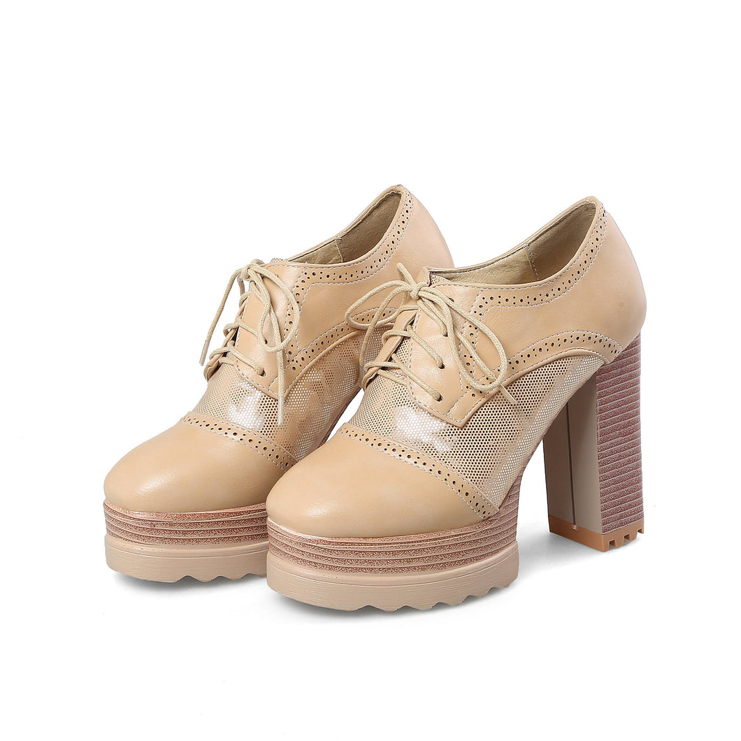 Women's Lace Up Platform High Heeled Shoes