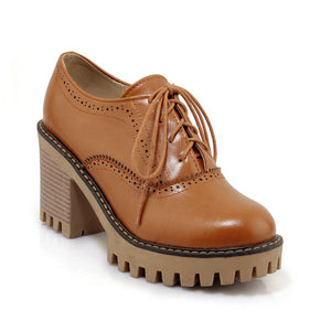 Round Head High Heeleds Lace Up Oxford Shoes