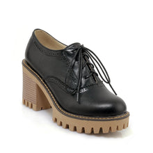 Load image into Gallery viewer, Round Head High Heeleds Lace Up Oxford Shoes