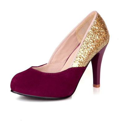 Women's Sequins Shallow Mouth Round Head High Heeled Stiletto Pumps