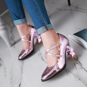 Women's Patent Leather Square Head Buckle Belt Chunkey Heel Pumps