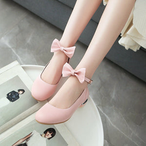 Woman Sweet Bow Low Heeled Princess Shoes
