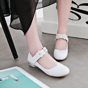 Woman Sweet Flower Low Heeled Princess Shoes