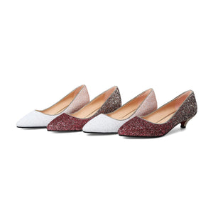 Pointed Toe Wedding Shoes Sequins and Shallow-mouthed Woman Pumps Stiletto Mid Heel Shoes