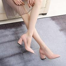 Load image into Gallery viewer, High Heeled Pointed Toe Block Heel Pumps