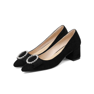 LadyShallow Mouth Thick Middle Heel Large Size Woman Pumps