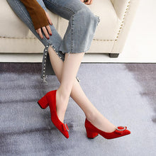 Load image into Gallery viewer, LadyShallow Mouth Thick Middle Heel Large Size Woman Pumps
