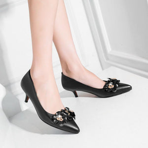 Pointed Toe Pumps Shallow Mouth Flower Stiletto Heel Mid Heel Woman Shoes
