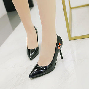 Patent Leather Pointed Toe High Heel Shallow Mouth Women Pumps