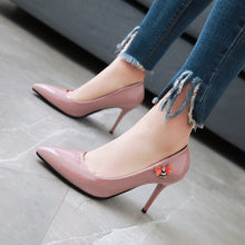Load image into Gallery viewer, Patent Leather Pointed Toe High Heel Shallow Mouth Women Pumps