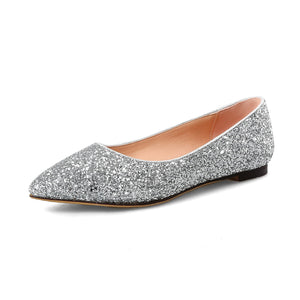 Girls Woman's Pregnant Wedding Sequin Flat Shoes