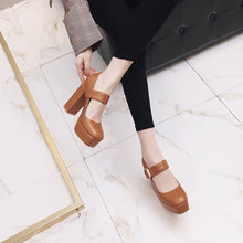 Load image into Gallery viewer, Super High Heeled Square Head Buckle Women Platform Pumps