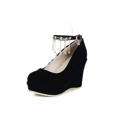 Casual Women's Bride Shoes Round Head Shallow Buckle Platform Wedges Shoes