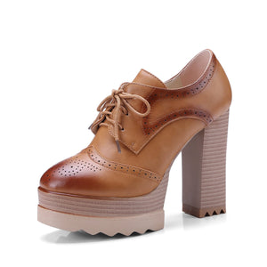Super High Heeled Platform Lace Up Oxford Shoes