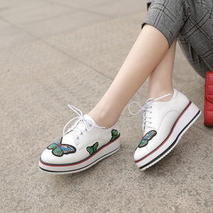 Girls Woman's Lace Up Platform Flat Shoes