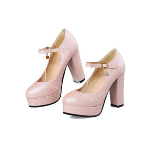 Women's Round Toe Ankle Strap Platform Pumps High Heeled s