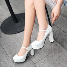 Load image into Gallery viewer, Women's Round Toe Ankle Strap Platform Pumps High Heeled s