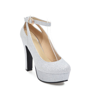 Round Head High Heeleds Thick Heel Buckle Bride Shoes