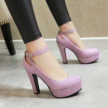 Load image into Gallery viewer, Round Head High Heeleds Thick Heel Buckle Bride Shoes
