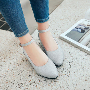 Woman Buckle Low Heeled Princess Shoes