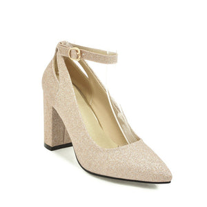 Pointed Toe Sequin Buckle High Heeled Thick Heeled Shoes
