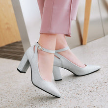 Load image into Gallery viewer, Pointed Toe Sequin Buckle High Heeled Thick Heeled Shoes