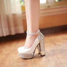 Load image into Gallery viewer, Super High Heeled Sequins Buckle Platform Pumps