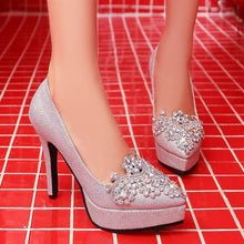 Load image into Gallery viewer, Women's Bride Shoes Platform High Heeled Stiletto Pumps