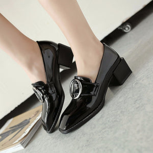 Casual Square Toe Shallow Mouth Middle Heeleded Women Chunkey Pumps