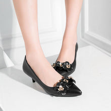 Load image into Gallery viewer, Pointed Toe Pumps Shallow Mouth Flower Stiletto Heel Mid Heel Woman Shoes