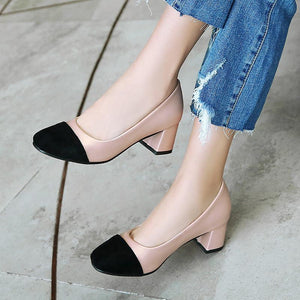 Lady Square Head Color Matching Woman's Pumps Middle Heels Shoes