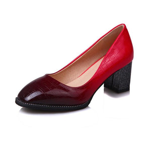 Women's Patent Leather Chunkey Sparkly Heels Pumps