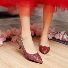 Load image into Gallery viewer, Pointed Toe Wedding Shoes Sequins and Shallow-mouthed Woman Pumps Stiletto Mid Heel Shoes