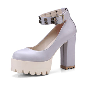 Rivet Nightclub Platform High Heels Pumps