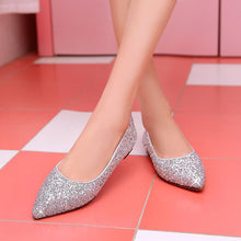 Load image into Gallery viewer, Girls Woman's Pregnant Wedding Sequin Flat Shoes